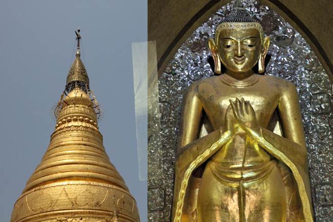 Schwedagon Pagode in Yangon, Myanmar. Vergoldeter Buddha.