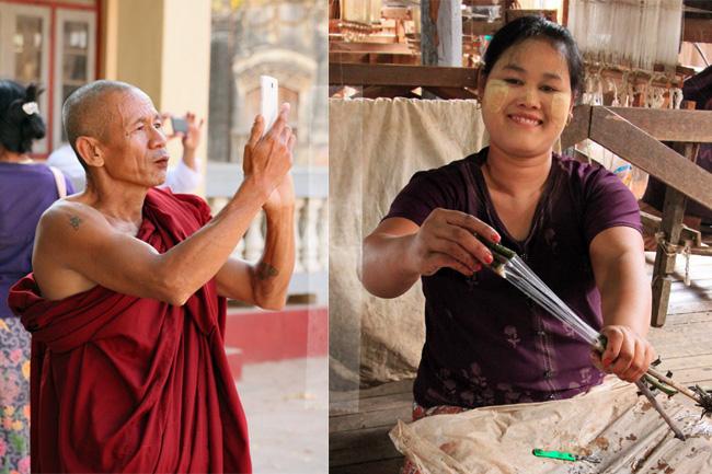 Buddhist mit Smartphone & Weberein mit Thanaka in Myanmar.